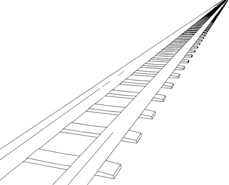 White sleepers and rails on a white background  Illustration