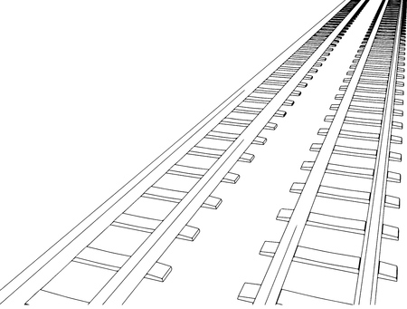 railway points: White sleepers and rails on a white background  Illustration