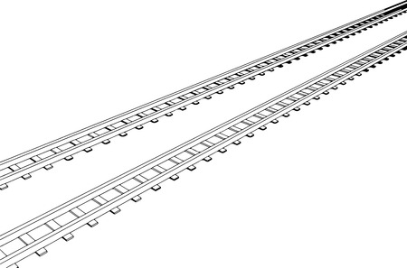 siding: White sleepers and rails on a white background  Illustration