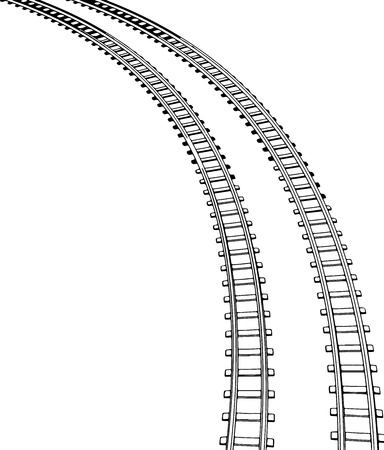 Vector White sleepers and rails on a white background  Illustration
