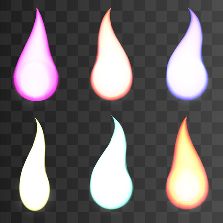 special effects: Set of fire flames on transparent background. Special effects. Vector illustration. Translucent elements. Transparency grid 2