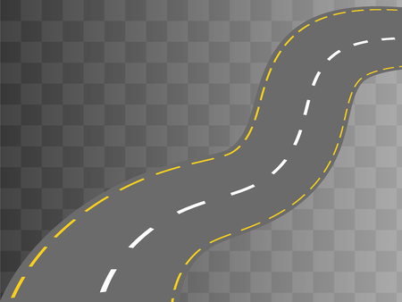 curved road: Curved road with white markings. Vector illustration 1