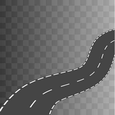 curved road: Curved road with white markings. Vector illustration 2