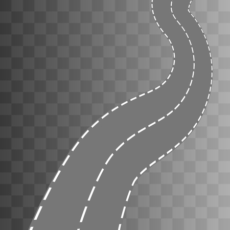 curved road: Curved road with white markings. Vector illustration 3