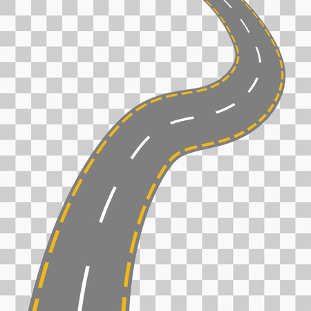 curved road: Curved road with white markings. Vector illustration 4
