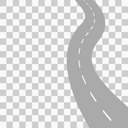 curved road: Curved road with white markings. Vector illustration 6