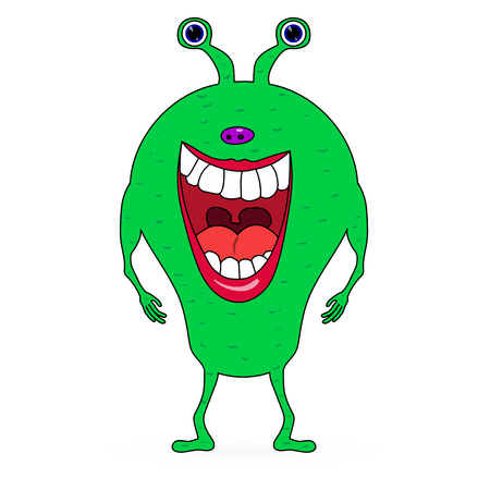 wicked set: Vector Green scaring cartoon monster  on white background