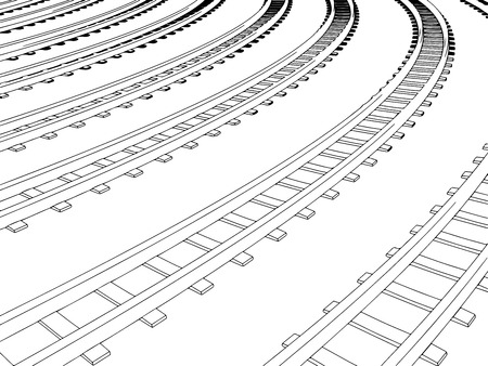 Vector Curved endless Train track. Sketch of Curved Train track. Outlines. 1 Ilustracja