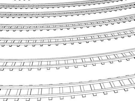 through travel: Vector Curved endless Train track. Sketch of Curved Train track. Outlines. 2