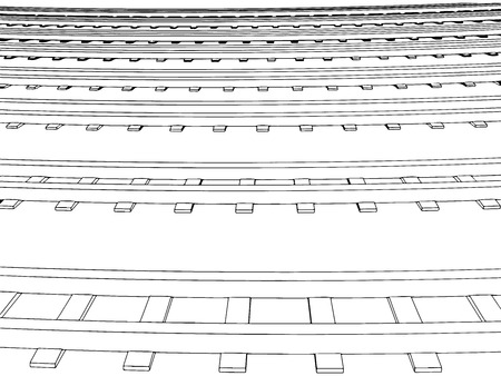 through travel: Vector Curved endless Train track. Sketch of Curved Train track. Outlines. 3