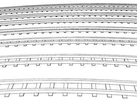 converge: Vector Curved endless Train track. Sketch of Curved Train track. Outlines. 4 Illustration