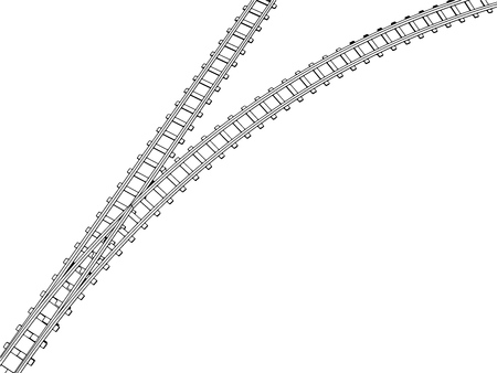 Vector Curved endless Train track. Sketch of Curved Train track. Outlines. 6