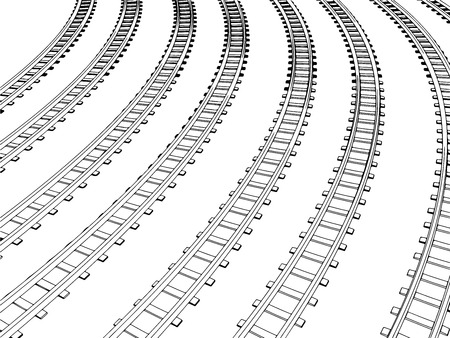 Vector Curved endless Train track. Sketch of Curved Train track. Outlines. 10