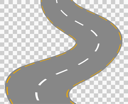 road line: Curved road with white markings. Vector illustration 1