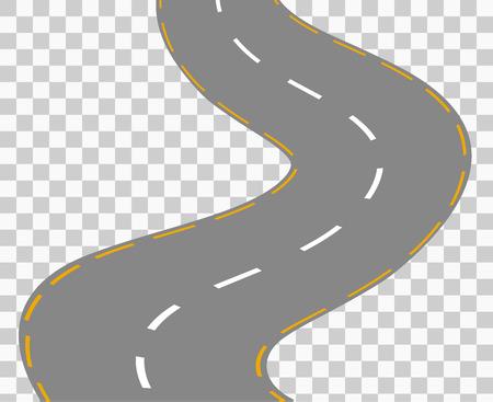 Curved road z białymi znaczeniami. ilustracji wektorowych 1