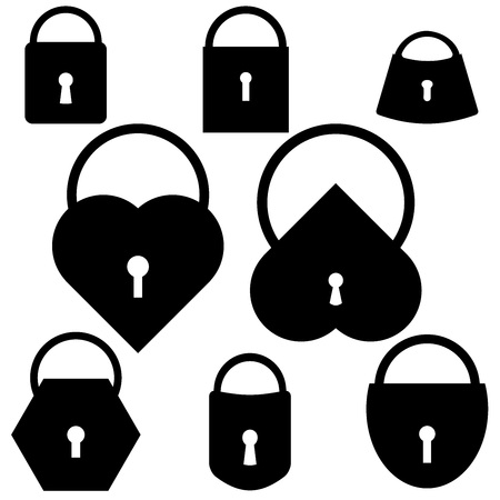 cons: Vector Set of black lock cons on white background Illustration