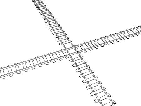 railroad track: Vector 2d 3d railway, railroad track sketch. On white 1 Illustration