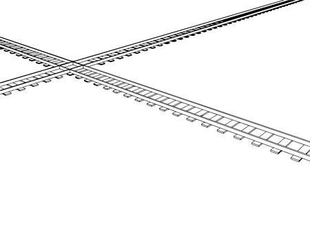 railroad track: Vector 2d 3d railway, railroad track sketch. On white 2
