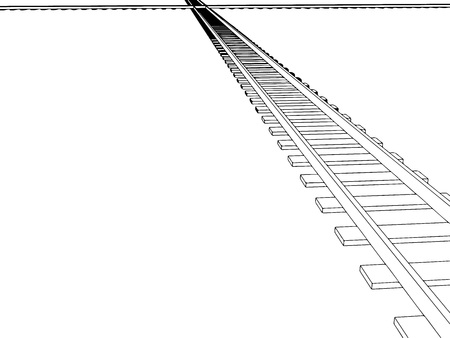 Vector 2d 3d railway, railroad track sketch. On white 4