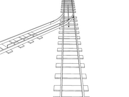 railroad track: Vector 2d 3d railway, railroad track sketch. On white 10