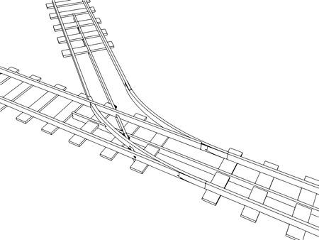 railroad track: Vector 2d 3d railway, railroad track sketch. On white 6