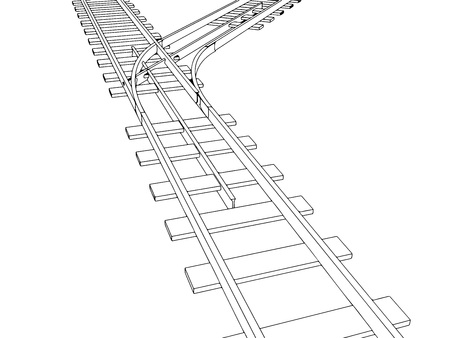 Vector 2d 3d railway, railroad track sketch. On white 7 Vectores