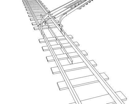 railroad track: Vector 2d 3d railway, railroad track sketch. On white 7 Illustration