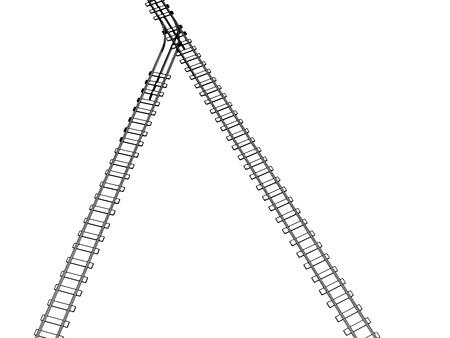 railroad track: Vector 2d 3d railway, railroad track sketch. On white 8