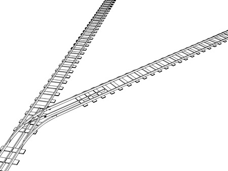 railroad track: Vector 2d 3d railway, railroad track sketch. On white 9