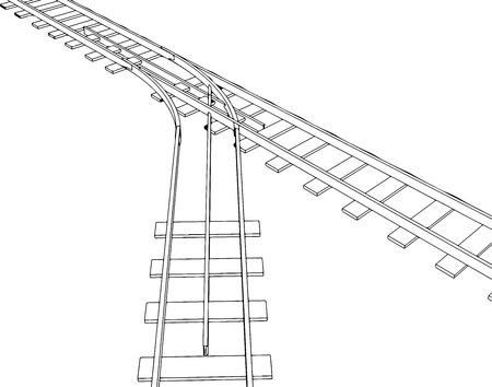 railroad track: Vector 2d 3d railway, railroad track sketch. On white 5 Illustration