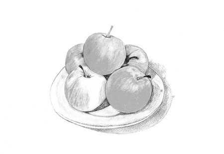 red apples: Red apples and green leaves. Grey illustration