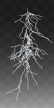 thunderbolt: Vector realistic lightnings thunderbolt on transparent background. 3 Illustration