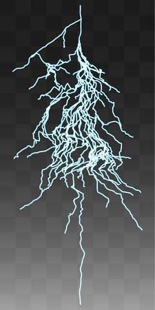 zapping: Vector realistic lightnings thunderbolt on transparent background. 5 Illustration