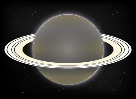 and saturn: Vector image. Saturn planet on stars 1 Illustration