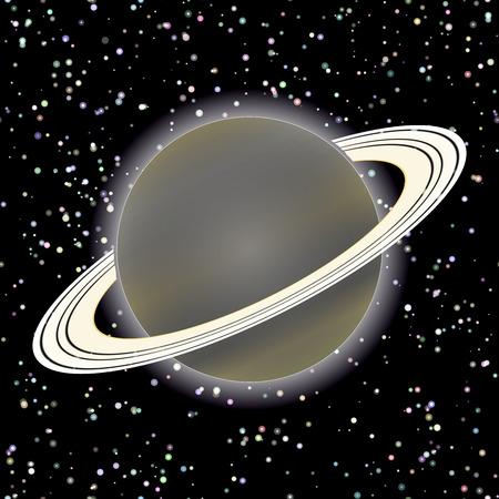 saturn planet: Vector image. Saturn planet on stars 2