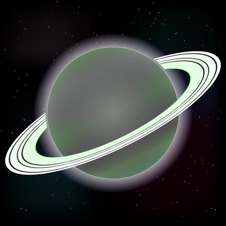macrocosm: Vector image. Saturn planet on stars 3