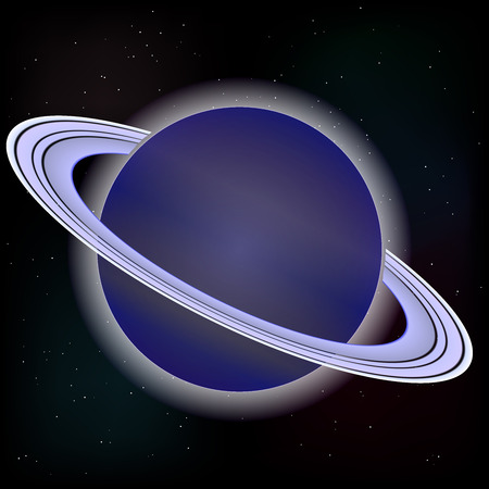 and saturn: Vector image. Saturn planet on stars 4