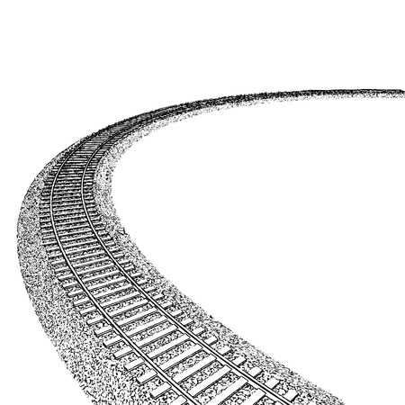 Vector Curved endless Train track. Sketch of Curved Train track. Outlines. 1 Çizim