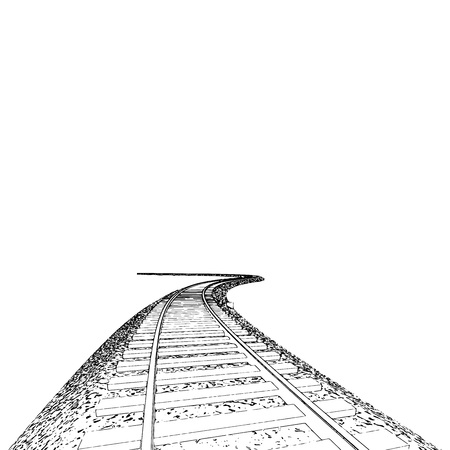 train track: Vector Curved endless Train track. Sketch of Curved Train track. Outlines. 3