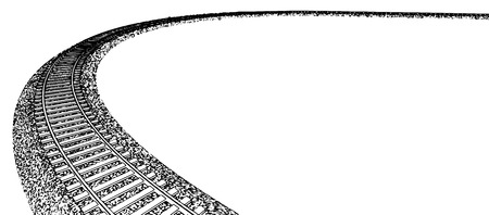 train track: Vector Curved endless Train track. Sketch of Curved Train track. Outlines. 5 Illustration