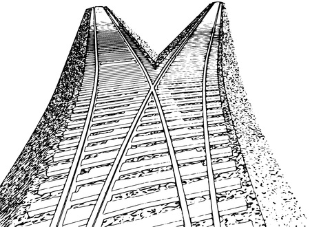 train track: Vector Curved endless Train track. Sketch of Curved Train track. Outlines. 7