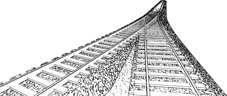 converge: Vector Curved endless Train track. Sketch of Curved Train track. Outlines. 8