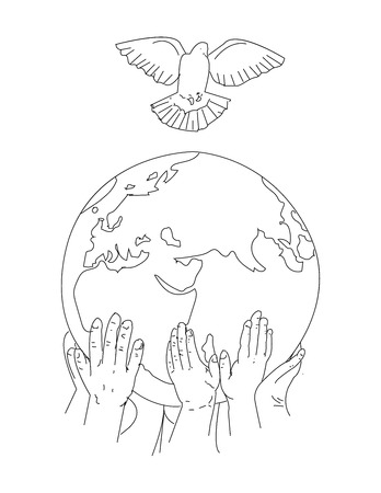 Vector Earth day concept. Human hands holding floating globe in space. Save our planet. Illustration