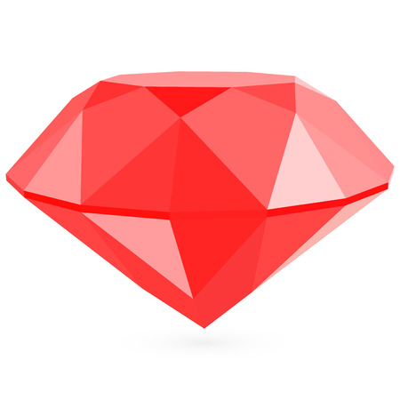 ruby: Vector Realistic red ruby on white background