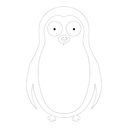 pinguin: Vector coloring abstract cute pinguin on a white background