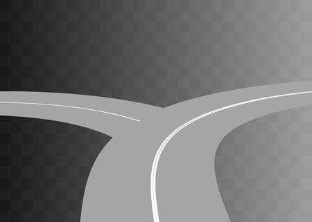 curved road: Vector  Curved road with white markings on transparent. illustration 1