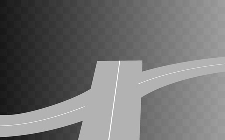 curved road: Vector  Curved road with white markings on transparent. illustration 2