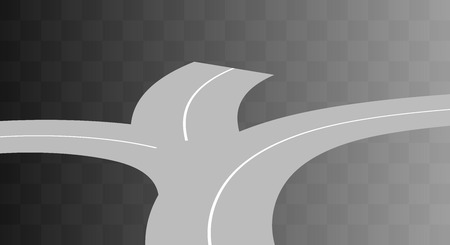 curved road: Vector  Curved road with white markings on transparent. illustration 3