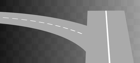 curved road: Vector  Curved road with white markings on transparent. illustration 4
