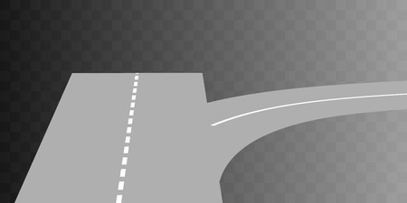 curved road: Vector  Curved road with white markings on transparent. illustration 5